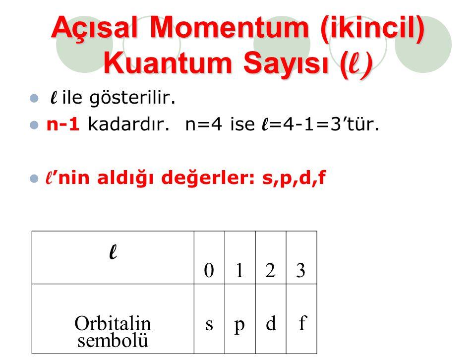 Açısal Momentum (ikincil) Kuantum Sayısı (l)