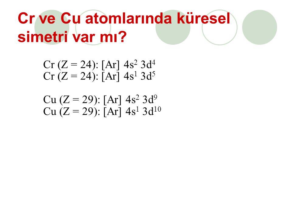 Cr ve Cu atomlarında küresel simetri var mı