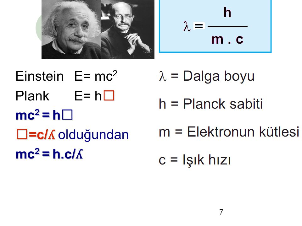 Einstein E= mc2 Plank E= hⱱ mc2 = hⱱ ⱱ=c/ʎ olduğundan mc2 = h.c/ʎ