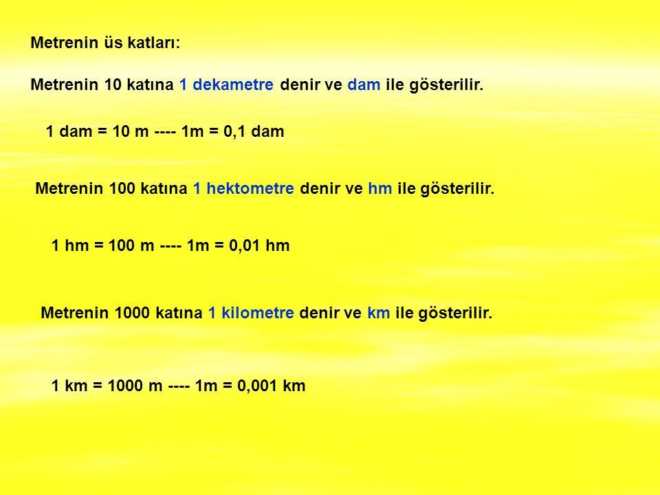 Metrenin üs katları: Metrenin 10 katına 1 dekametre denir ve dam ile gösterilir. 1 dam = 10 m ---- 1m = 0,1 dam.