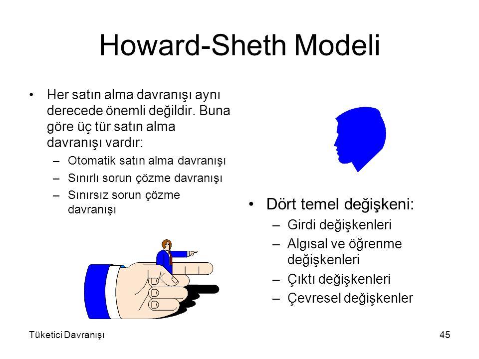 Howard-Sheth Modeli Dört temel değişkeni: