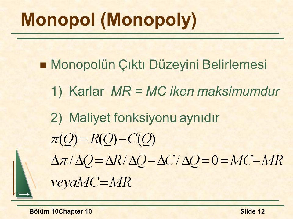 Monopol (Monopoly) Monopolün Çıktı Düzeyini Belirlemesi