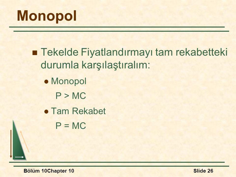 Monopol Tekelde Fiyatlandırmayı tam rekabetteki durumla karşılaştıralım: Monopol. P > MC. Tam Rekabet.