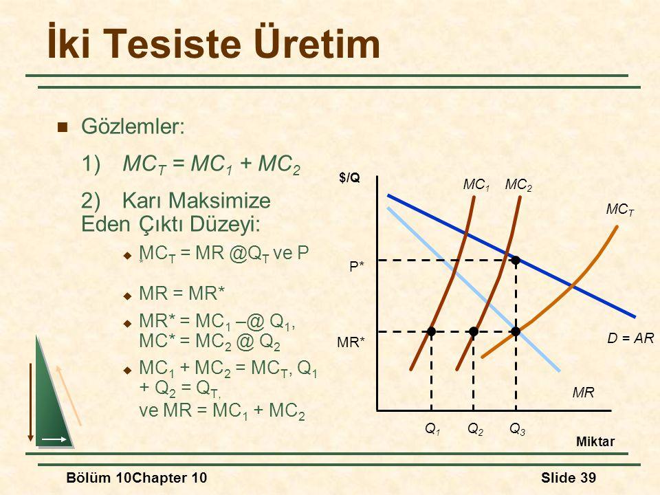İki Tesiste Üretim Gözlemler: 1) MCT = MC1 + MC2