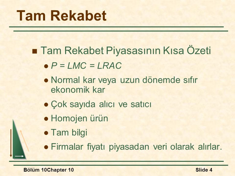 Tam Rekabet Tam Rekabet Piyasasının Kısa Özeti P = LMC = LRAC