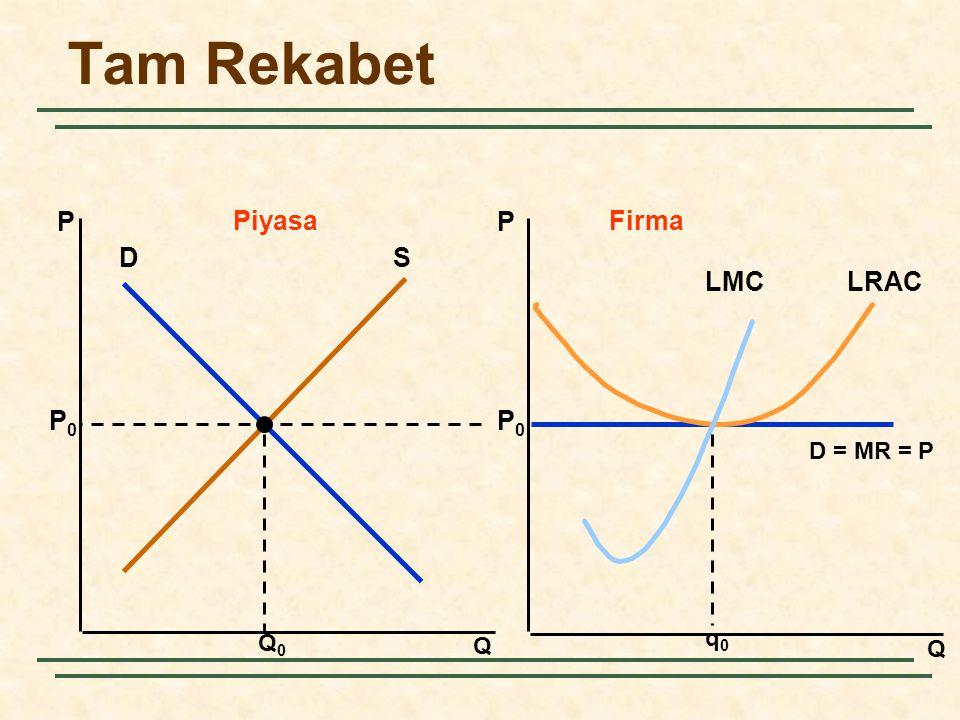 Tam Rekabet P Piyasa P Firma D S q0 LRAC LMC Q0 P0 D = MR = P Q Q 3