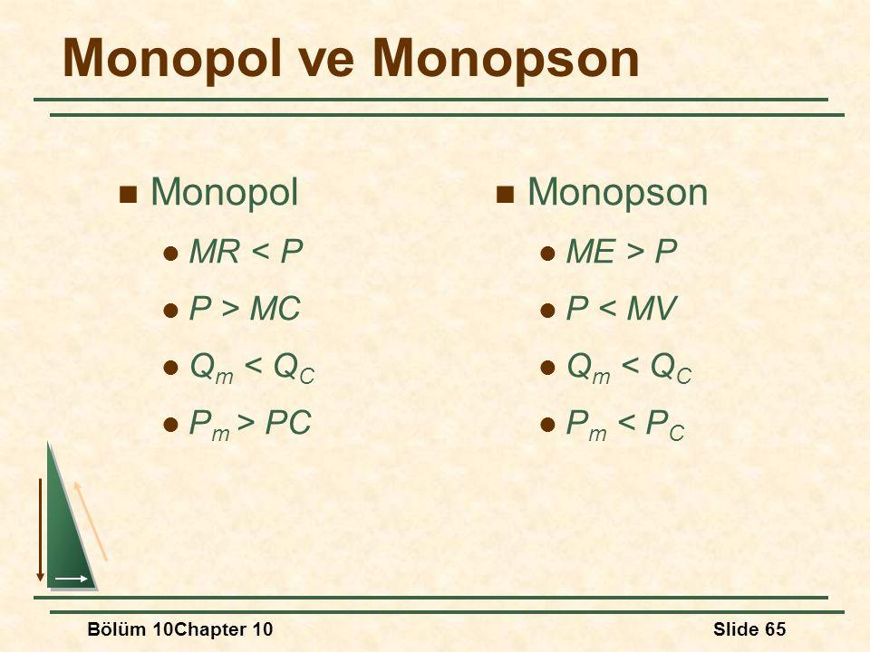 Monopol ve Monopson Monopol Monopson MR < P P > MC Qm < QC