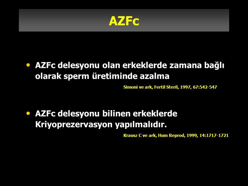 AZFc AZFc delesyonu olan erkeklerde zamana bağlı olarak sperm üretiminde azalma. Simoni ve ark, Fertil Steril, 1997, 67:542-547.