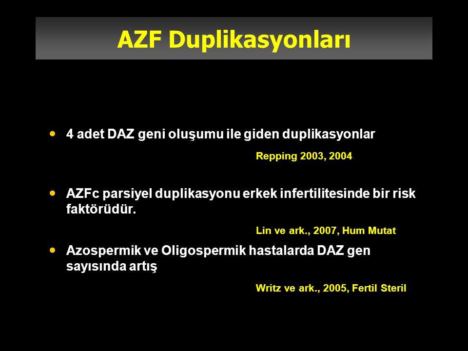 AZF Duplikasyonları 4 adet DAZ geni oluşumu ile giden duplikasyonlar