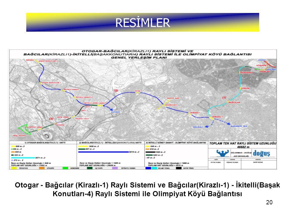 RESİMLER Otogar - Bağcılar (Kirazlı-1) Raylı Sistemi ve Bağcılar(Kirazlı-1) - İkitelli(Başak Konutları-4) Raylı Sistemi ile Olimpiyat Köyü Bağlantısı.