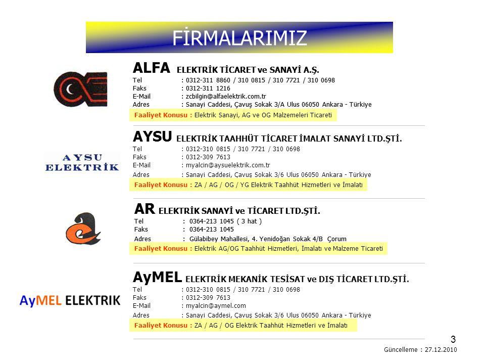 FİRMALARIMIZ ALFA ELEKTRİK TİCARET ve SANAYİ A.Ş.