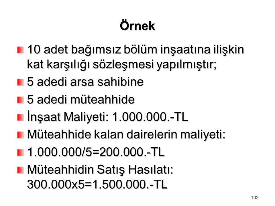 Örnek 10 adet bağımsız bölüm inşaatına ilişkin kat karşılığı sözleşmesi yapılmıştır; 5 adedi arsa sahibine.