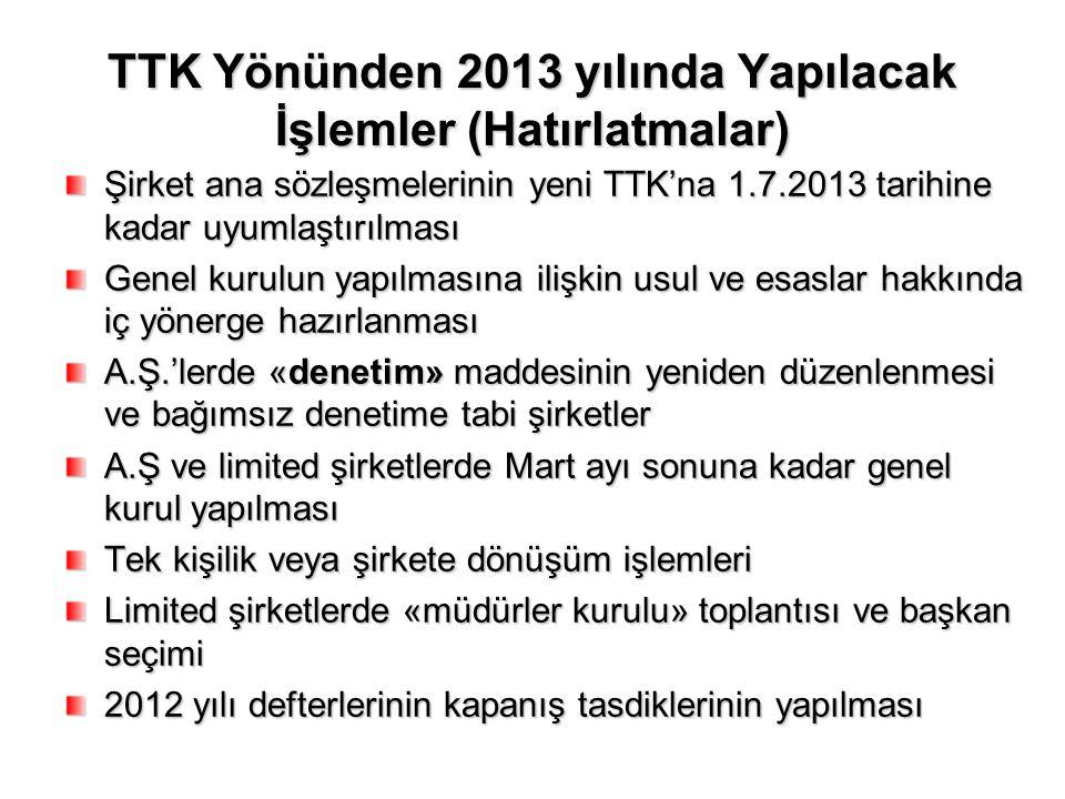 TTK Yönünden 2013 yılında Yapılacak İşlemler (Hatırlatmalar)