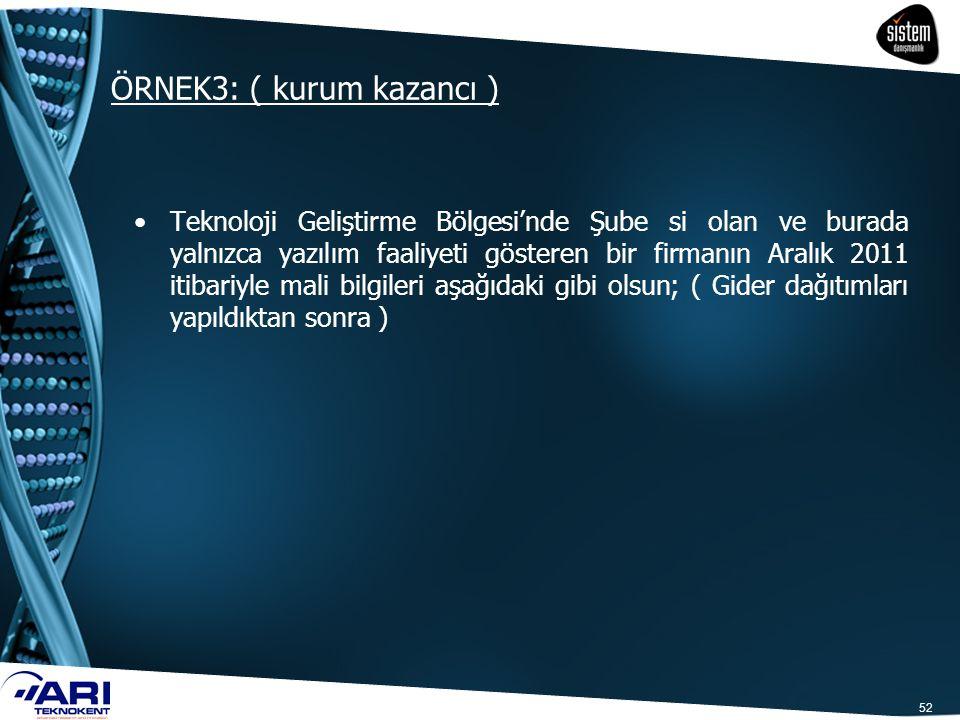 ÖRNEK3: ( kurum kazancı )