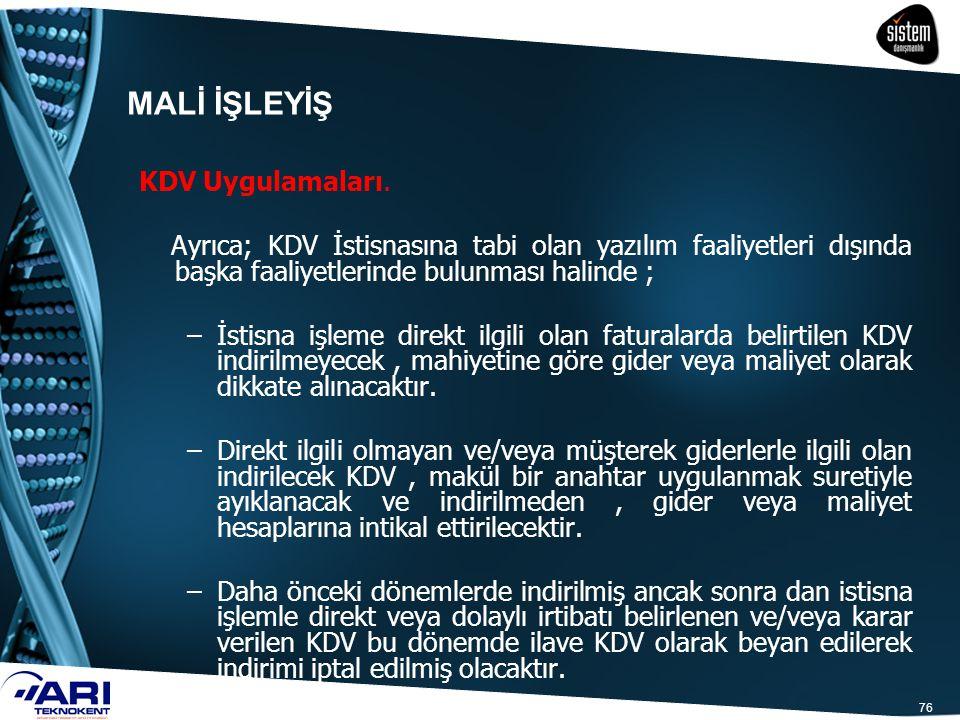 MALİ İŞLEYİŞ KDV Uygulamaları.