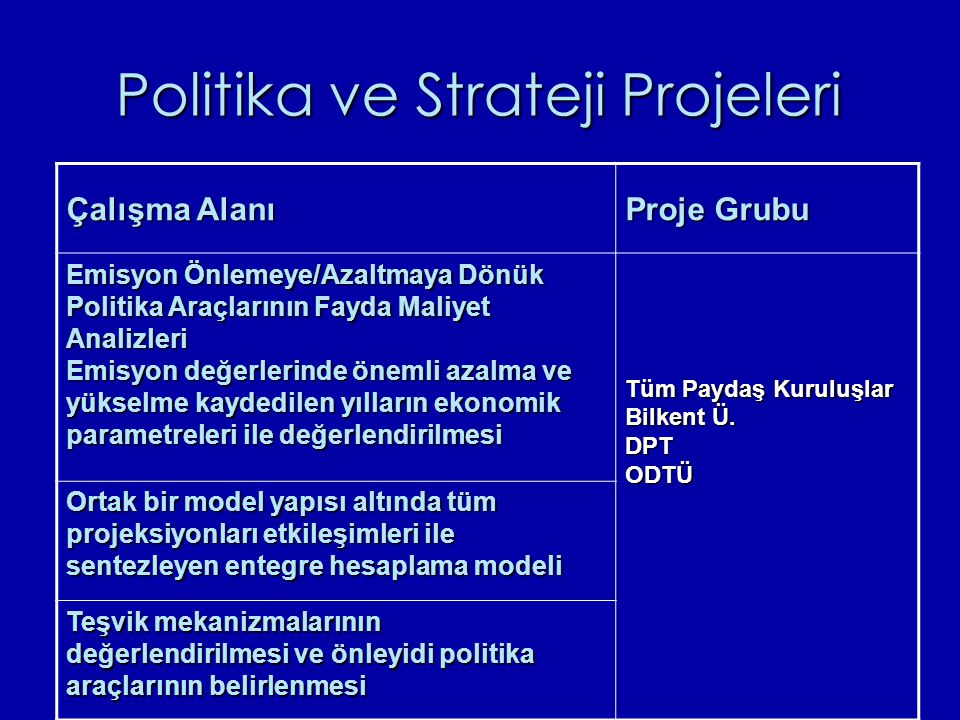 Politika ve Strateji Projeleri