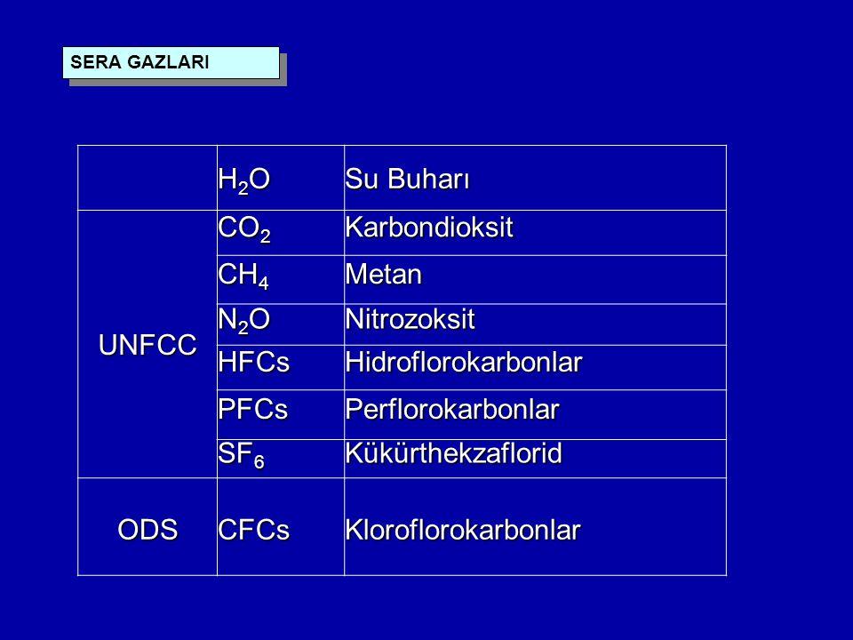 H2O Su Buharı UNFCC CO2 Karbondioksit CH4 Metan N2O Nitrozoksit HFCs