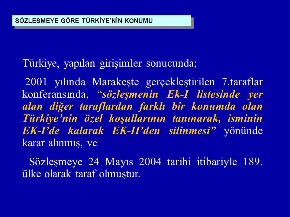 Türkiye, yapılan girişimler sonucunda;