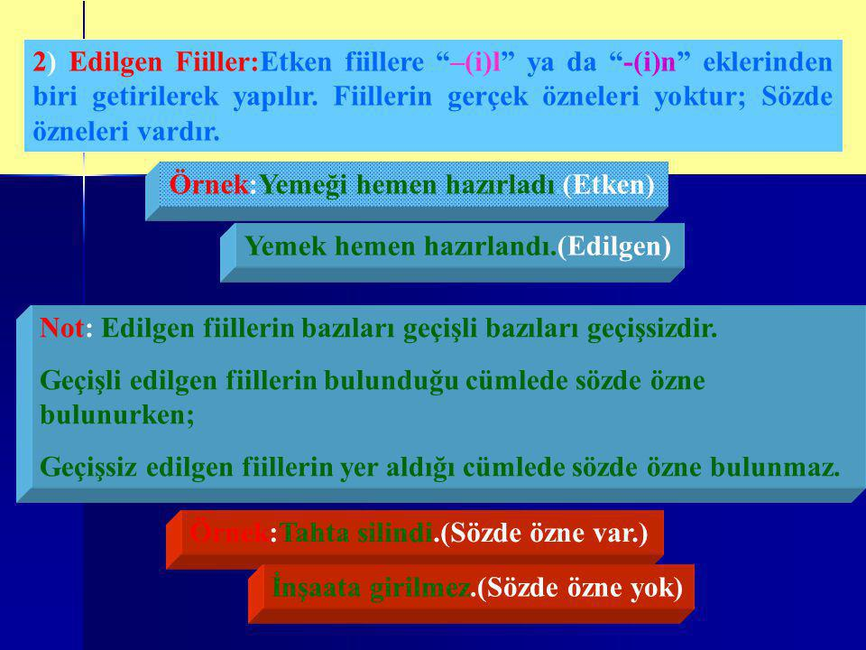 2) Edilgen Fiiller:Etken fiillere –(i)l ya da -(i)n eklerinden biri getirilerek yapılır. Fiillerin gerçek özneleri yoktur; Sözde özneleri vardır.