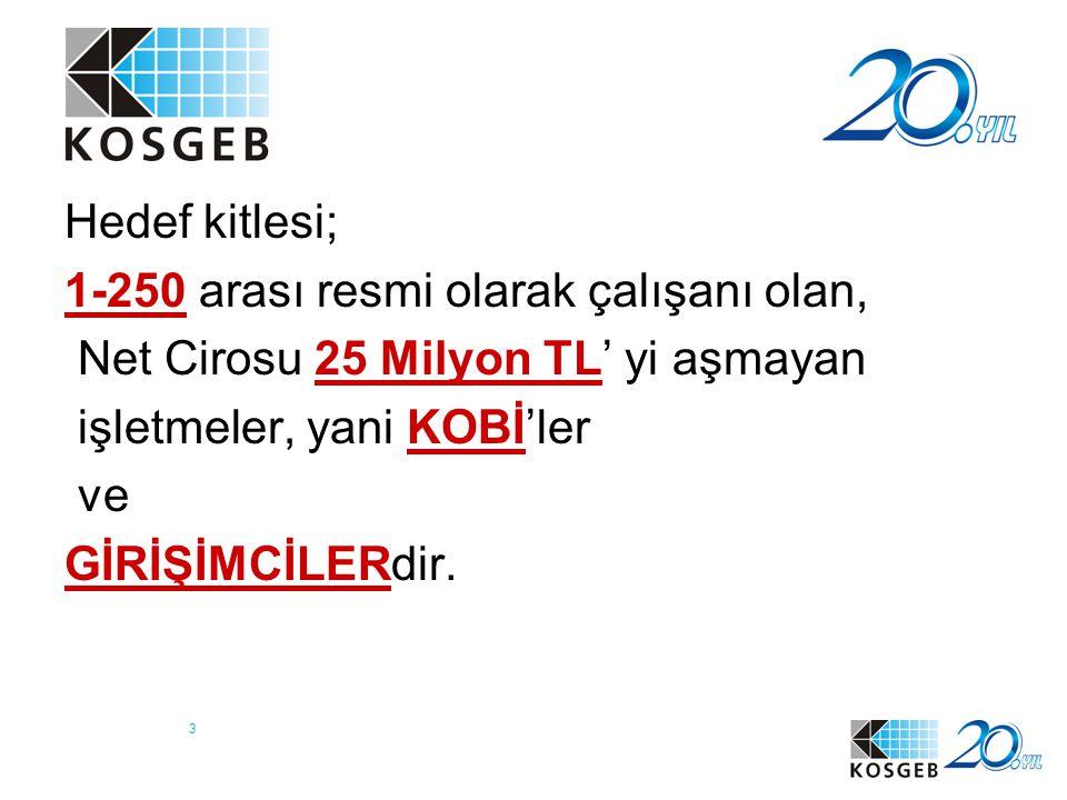 Hedef kitlesi; 1-250 arası resmi olarak çalışanı olan, Net Cirosu 25 Milyon TL' yi aşmayan. işletmeler, yani KOBİ'ler.