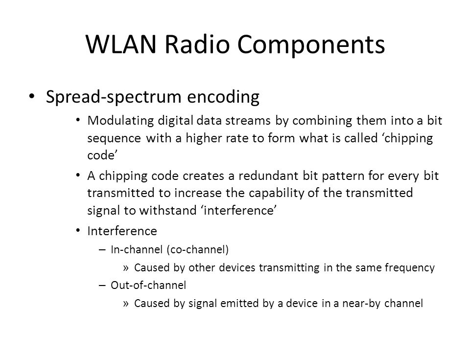 WLAN Radio Components Spread-spectrum encoding