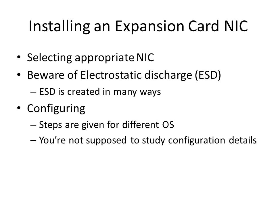 Installing an Expansion Card NIC