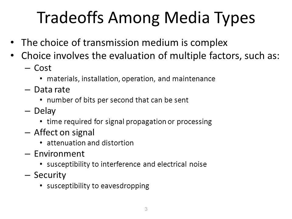 Tradeoffs Among Media Types