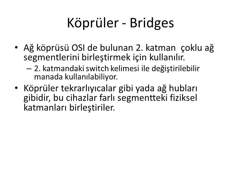 Köprüler - Bridges Ağ köprüsü OSI de bulunan 2. katman çoklu ağ segmentlerini birleştirmek için kullanılır.