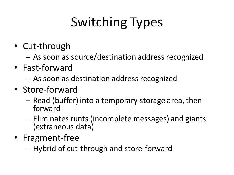 Switching Types Cut-through Fast-forward Store-forward Fragment-free