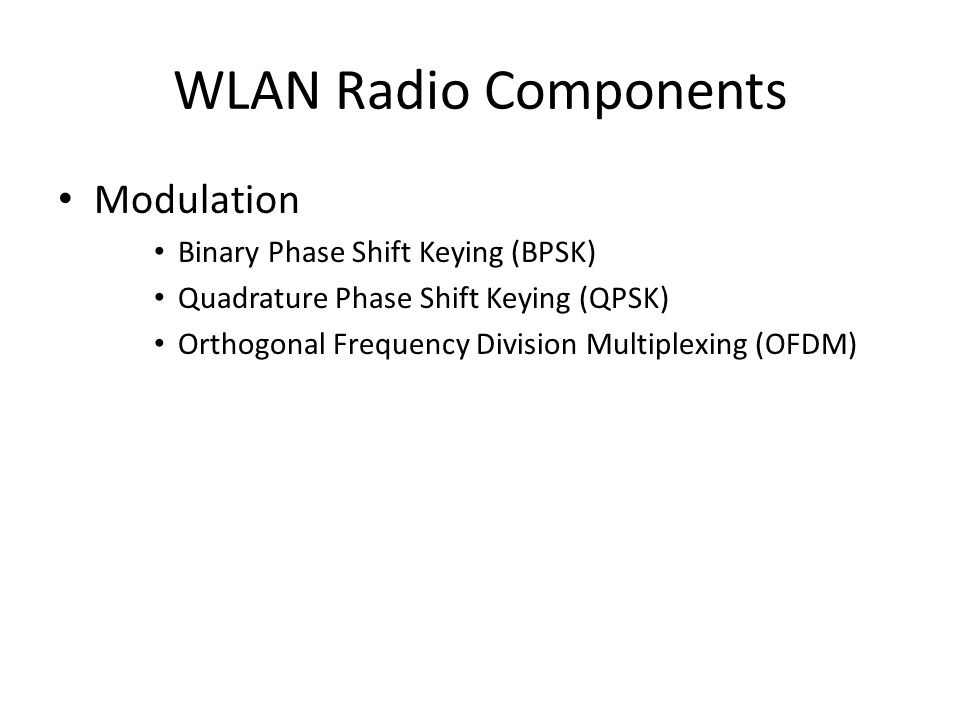 WLAN Radio Components Modulation Binary Phase Shift Keying (BPSK)