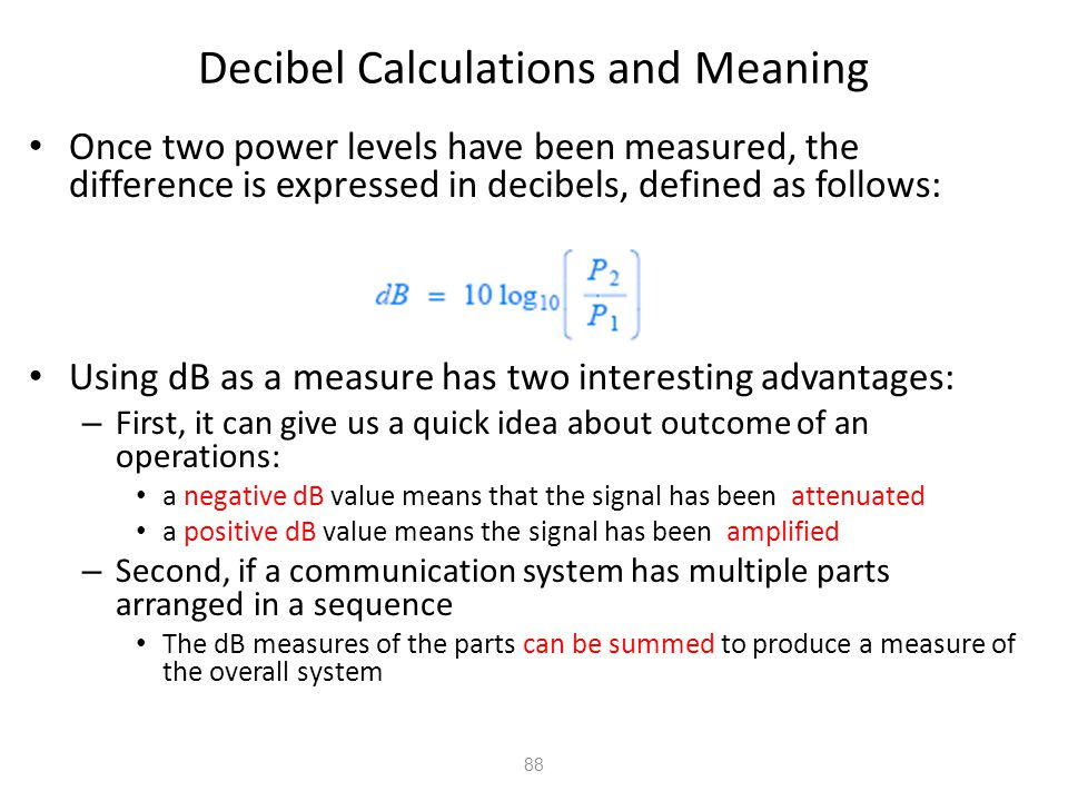 Decibel Calculations and Meaning