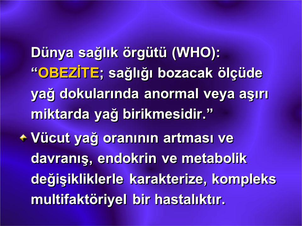 Dünya sağlık örgütü (WHO): OBEZİTE; sağlığı bozacak ölçüde yağ dokularında anormal veya aşırı miktarda yağ birikmesidir.