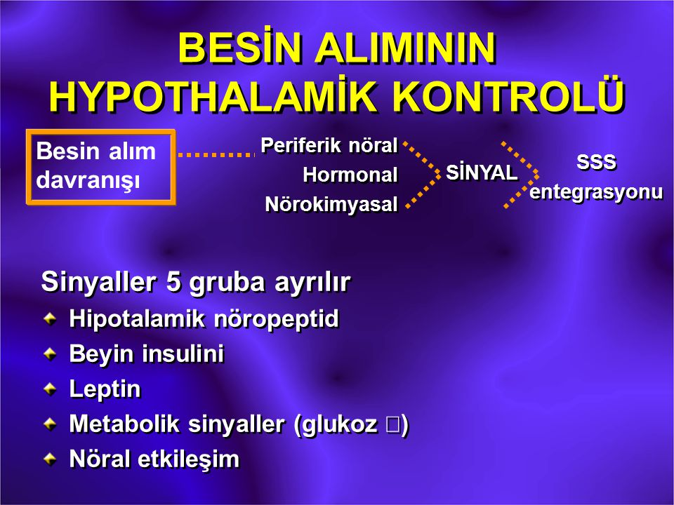 BESİN ALIMININ HYPOTHALAMİK KONTROLÜ