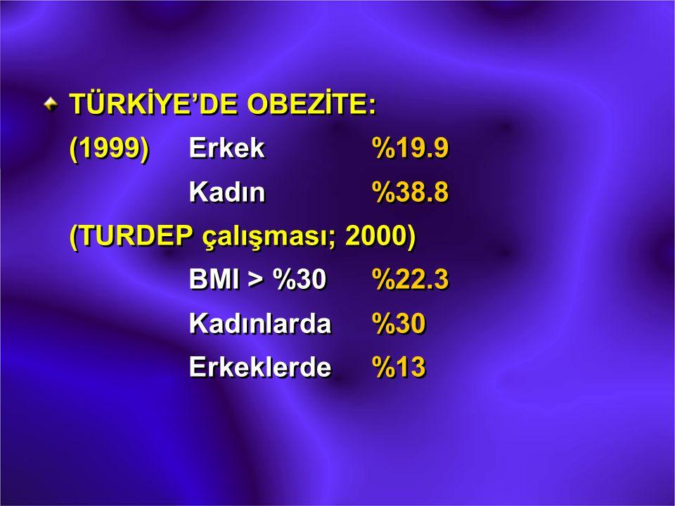 TÜRKİYE'DE OBEZİTE: (1999). Erkek. %19. 9. Kadın. %38