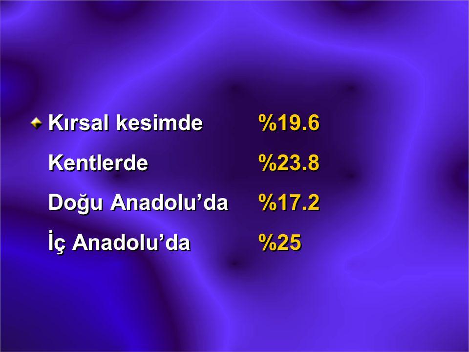 Kırsal kesimde. %19. 6 Kentlerde. %23. 8 Doğu Anadolu'da. %17