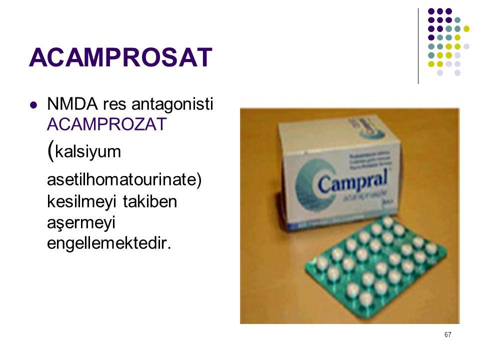 ACAMPROSAT NMDA res antagonisti ACAMPROZAT (kalsiyum asetilhomatourinate) kesilmeyi takiben aşermeyi engellemektedir.