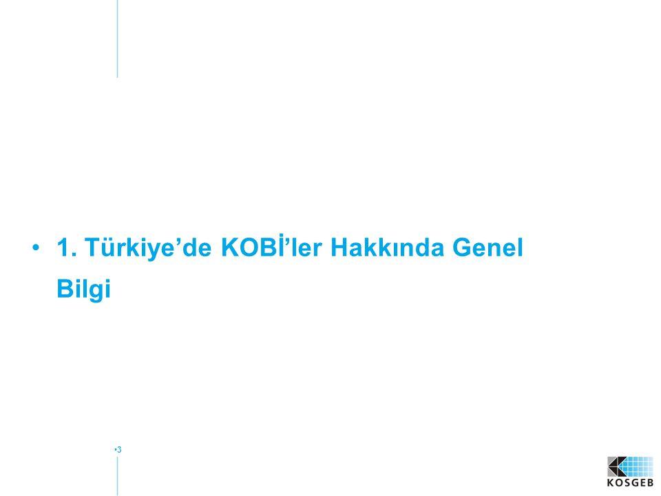 1. Türkiye'de KOBİ'ler Hakkında Genel Bilgi