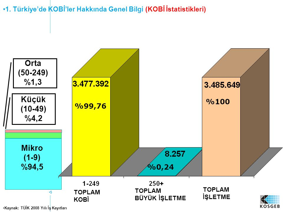 Orta (50-249) %1,3 Küçük (10-49) %4,2 Mikro (1-9) %94,5