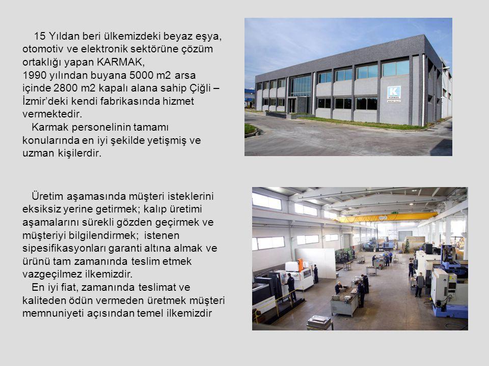 15 Yıldan beri ülkemizdeki beyaz eşya, otomotiv ve elektronik sektörüne çözüm ortaklığı yapan KARMAK, 1990 yılından buyana 5000 m2 arsa içinde 2800 m2 kapalı alana sahip Çiğli – İzmir'deki kendi fabrikasında hizmet vermektedir. Karmak personelinin tamamı konularında en iyi şekilde yetişmiş ve uzman kişilerdir.