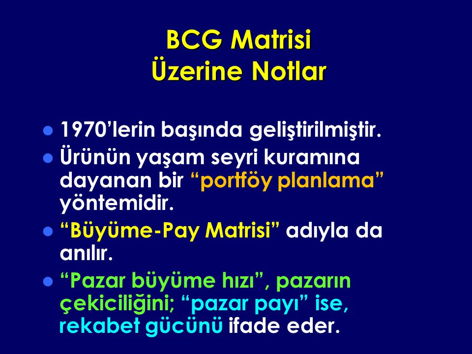 BCG Matrisi Üzerine Notlar