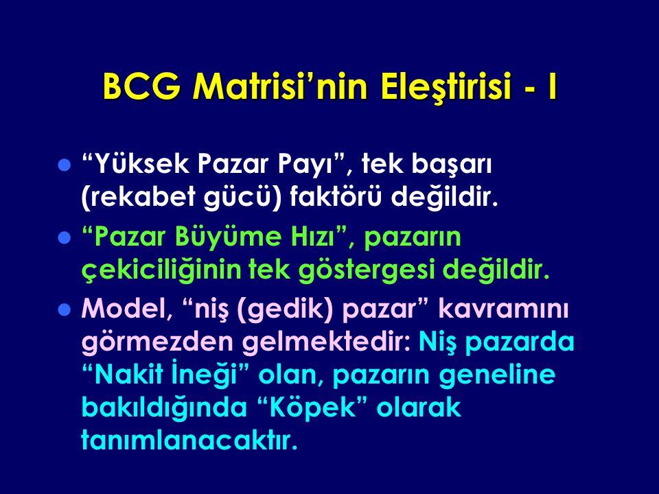 BCG Matrisi'nin Eleştirisi - I