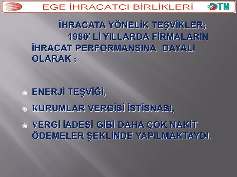 İHRACATA YÖNELİK TEŞVİKLER;