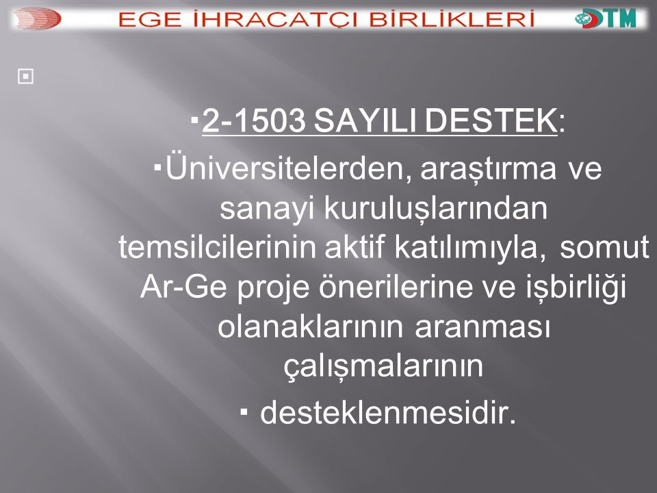 AR-GE 2-1503 SAYILI DESTEK: