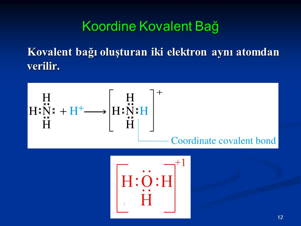 Koordine Kovalent Bağ Kovalent bağı oluşturan iki elektron aynı atomdan verilir.
