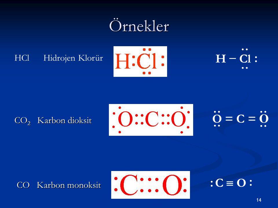 Örnekler H − Cl O = C = O C  O HCl Hidrojen Klorür CO2 Karbon dioksit