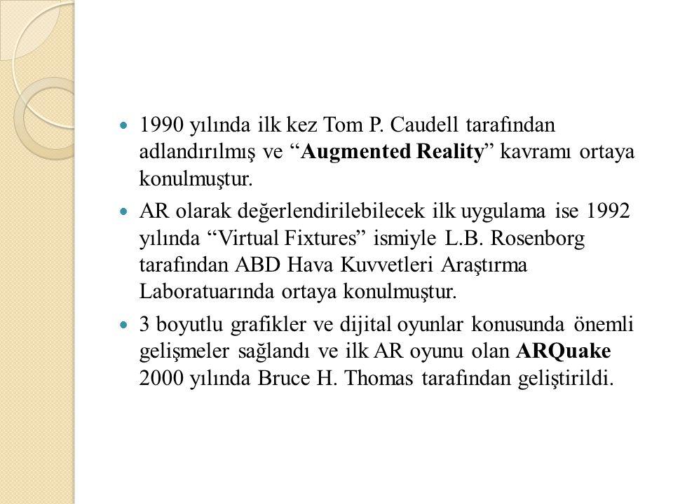 1990 yılında ilk kez Tom P. Caudell tarafından adlandırılmış ve Augmented Reality kavramı ortaya konulmuştur.