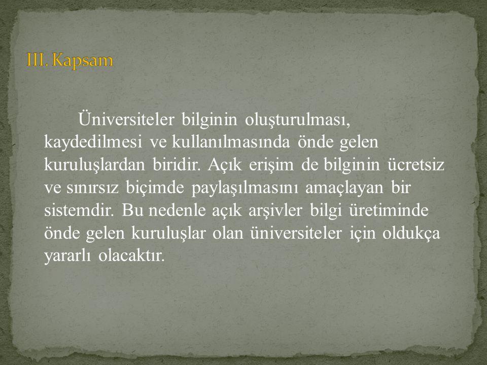 III. Kapsam