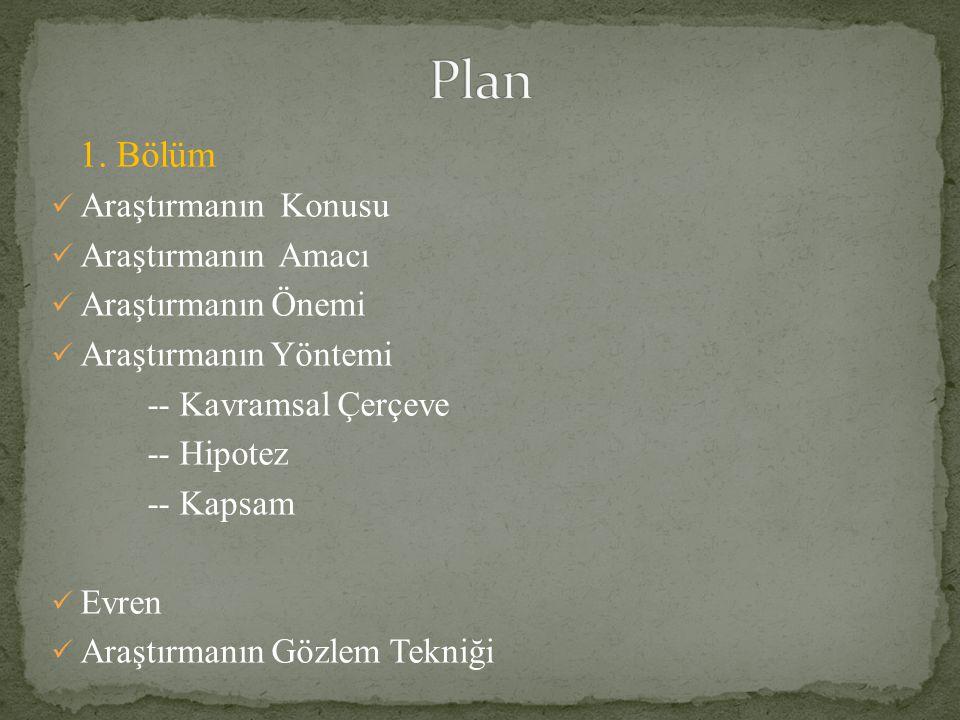 Plan 1. Bölüm Araştırmanın Konusu Araştırmanın Amacı