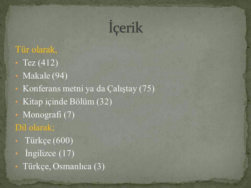 İçerik Tür olarak, Tez (412) Makale (94)
