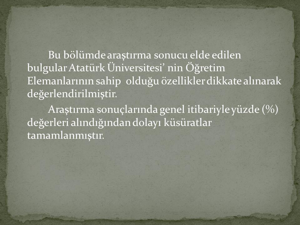 Bu bölümde araştırma sonucu elde edilen bulgular Atatürk Üniversitesi' nin Öğretim Elemanlarının sahip olduğu özellikler dikkate alınarak değerlendirilmiştir.